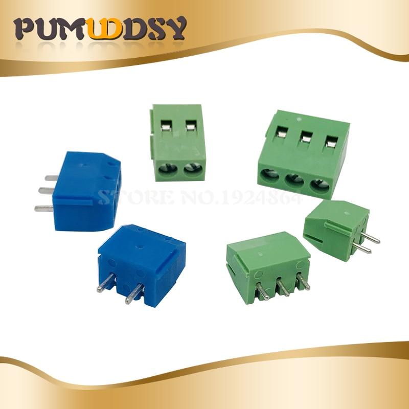 20 unids/lote KF301-2P 3P KF350-2P 3P KF128 tornillo 2Pin 3Pin recta de 5,0mm Pin PCB tornillo conector de bloque de terminales, azul y verde