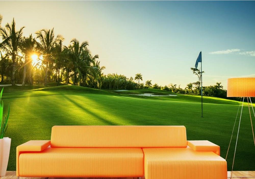Papel de pared 3d personalizado mural paisaje Campo de Golf césped verde 3d para sala de estar papel pintado de lujo no tejido pintura de aceite