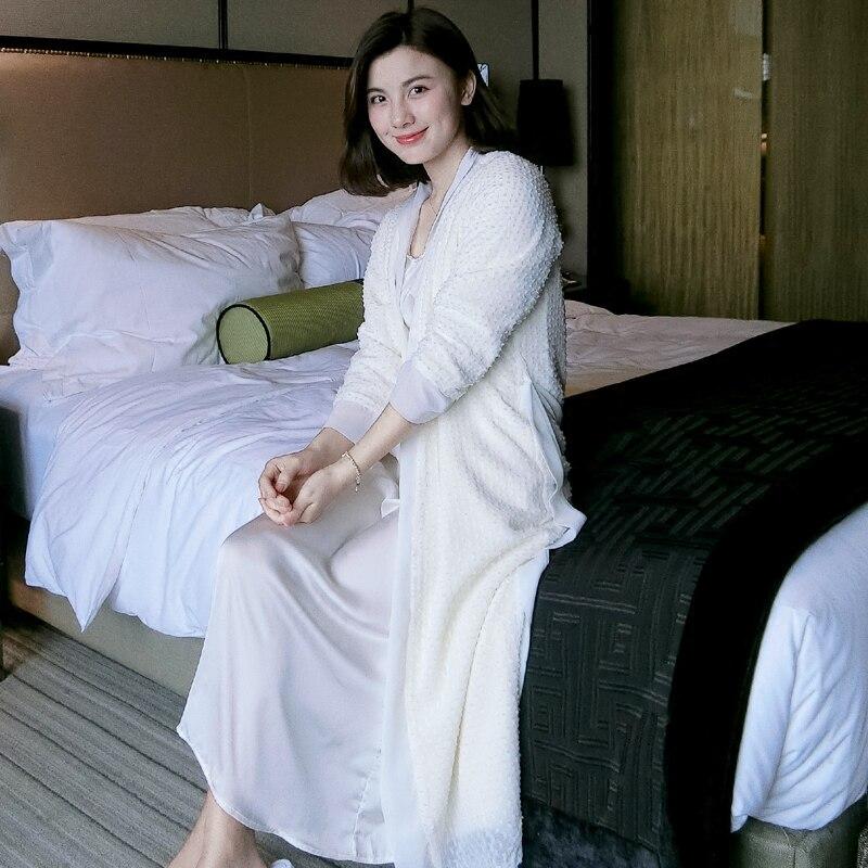Conjuntos de Vestes Brancas de Manga Roupão de Luxo Seda Inverno Engrosse Velo Coral Mulheres 2 Peças Longa Elegantes Camisolas Longas Outono 2585