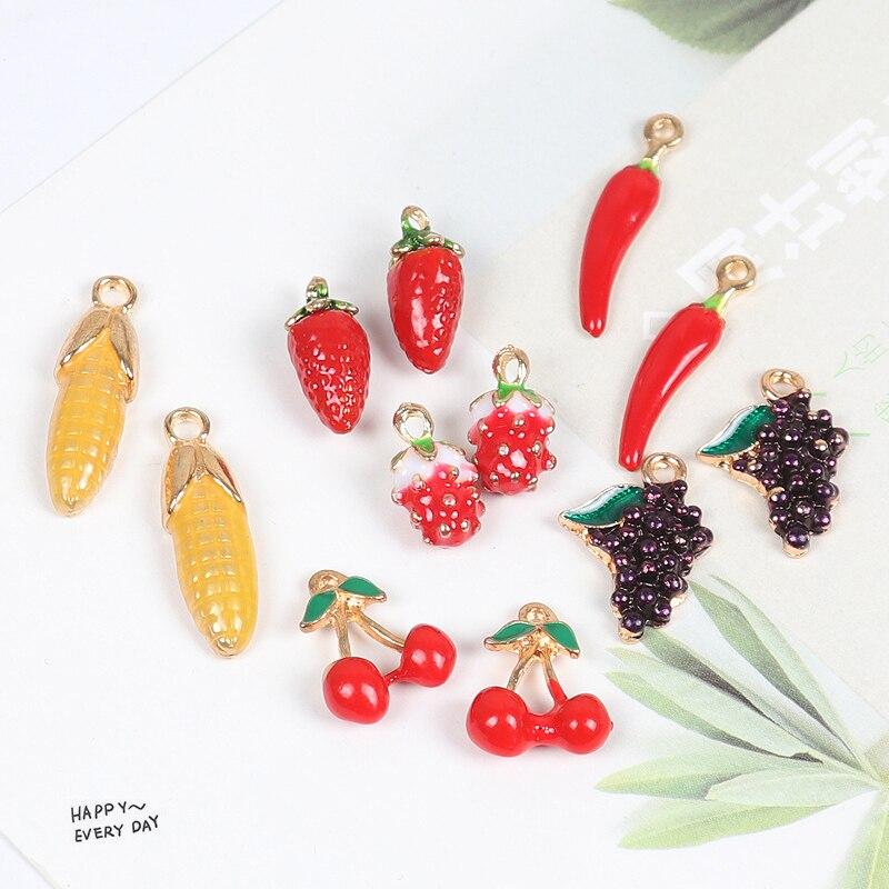 MRHUANG 10pcs Corn Dragon fruit grape  chili Strawberry Enamel Charms Pendant fit  bracelet DIY  Fashion Jewelry Accessories