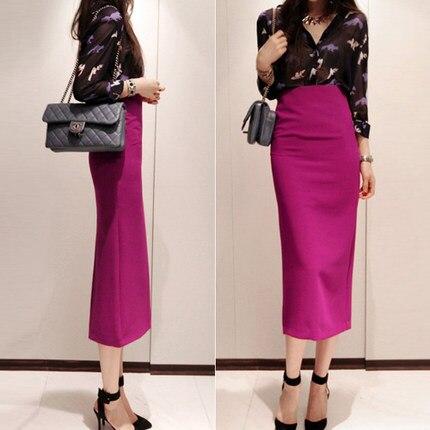 Personalizar verano mujeres Casual de talla grande XXS-8XL de alta cintura medio-becerro largo lápiz Oficina falda Open Back faldas midi divididas Saias