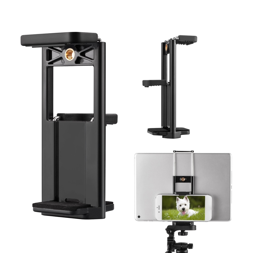 Doble abrazadera multifunción teléfono móvil Selfie doble Clip soporte trípode monopie soporte adaptador de montaje para teléfono almohadilla