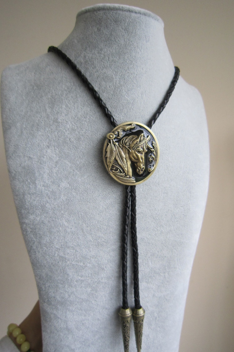 Antique Bronze Plated Western Horse Head Oval Bolo Tie Leather Necklace Free Shipping BOLOTIE-WT057AB
