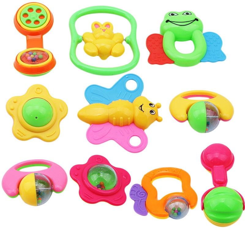 6 unids/set de juguetes de mano coloridos de plástico no tóxicos para bebés, sonajero para bebés, campanilla de música para niños