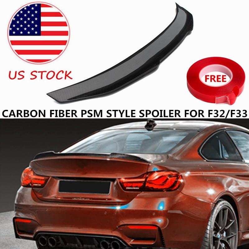 Alerón de fibra de carbono de estilo PSM para BMW 4 Series F32 F33 420i 428i 430i 435i 440i, divisor de maletero trasero, labio de ala 2014-2018, existencias en EE. UU.