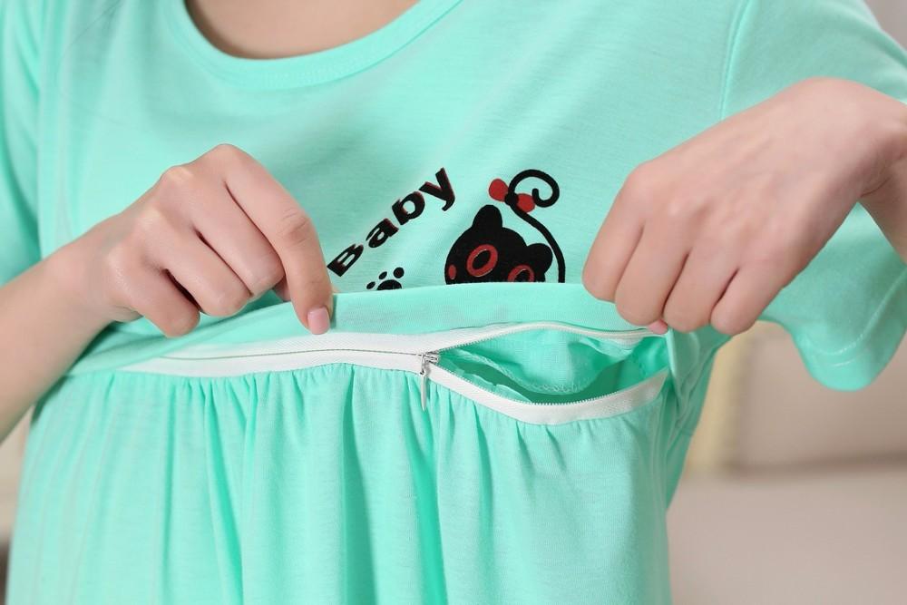 2016 Bawełna Cartoon Sukienka Macierzyński Piżamy Ubrania Dla Kobiet W Ciąży Karmienie Piersią Pielęgniarstwo Piżamy Koszula Nocna Z krótkim Rękawem 44