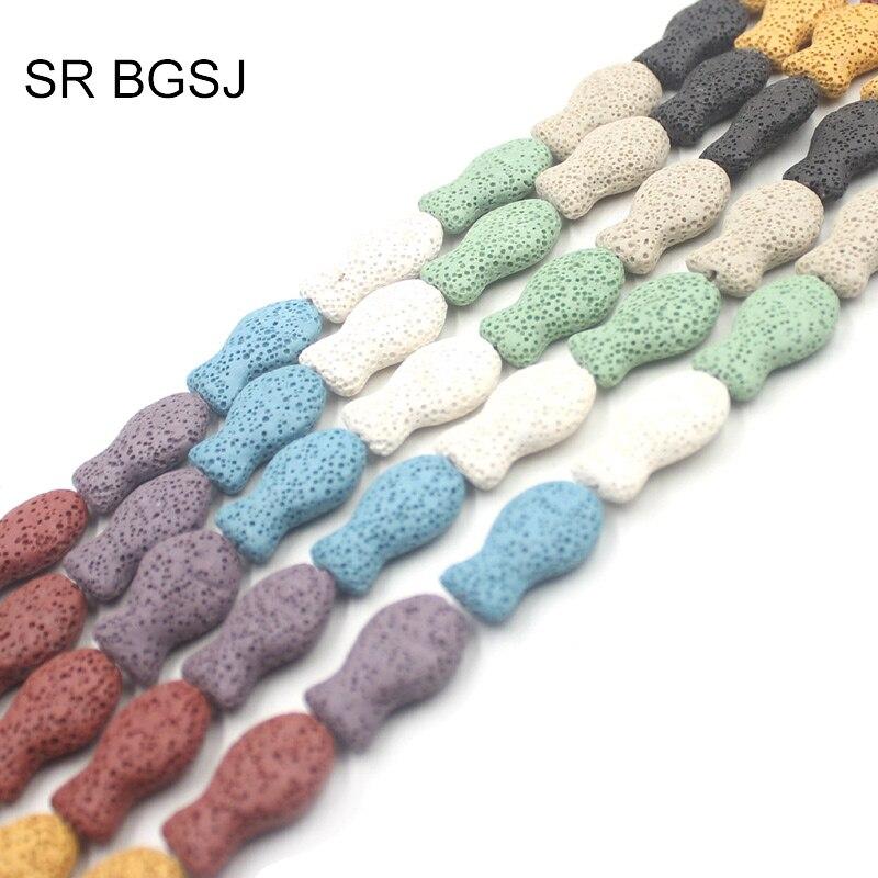 Free Shipping  16x26mm Little Fish MIxed Random Colors Natural Lava Bead MultiColor Lava Rock Loose Handwork DIY Beads
