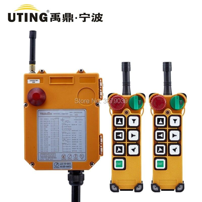 UTING CE FCC F24-6D (2 transmetteur + 1 récepteur) Radio sans fil industrielle Double vitesse 6 boutons télécommande pour grue de levage
