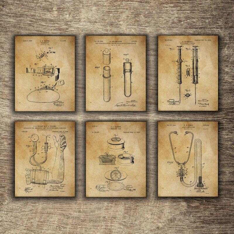 Vintage equipamentos médicos patente blueprint cartazes e cópias medicina arte da parede pintura em tela médico presente clínica decoração