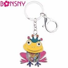 Bonsny animaux émail grenouille porte-clés femmes porte-clés cadeau pour fille adolescents sac à main charmes Pom porte-clés voiture clé bijoux à breloques