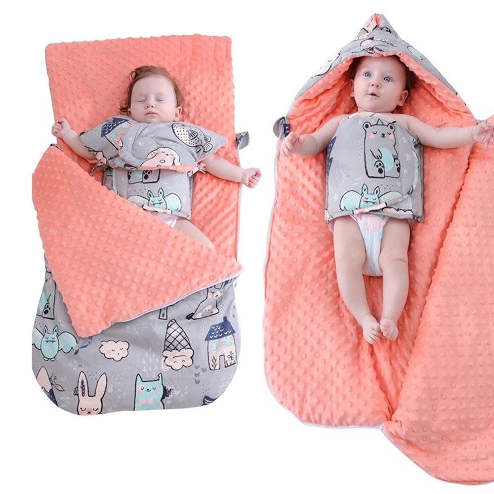 Baby cotton anti-stunning autumn winter thickening dual-use newborn holding baby pea bean blanket sleeping bag Thicken Warm