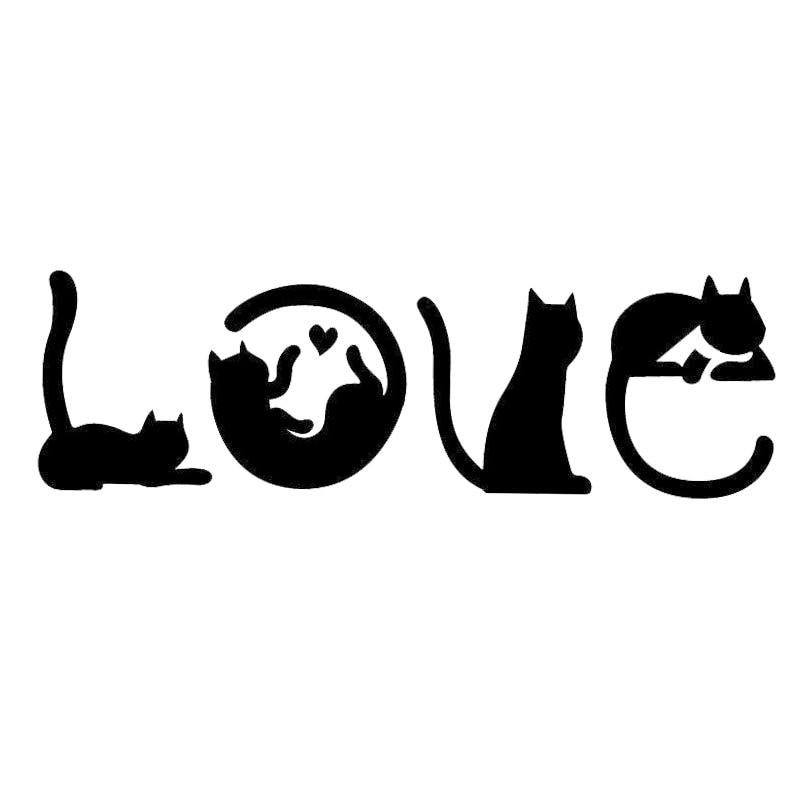 Декоративные наклейки на лобовое стекло для автомобиля, 15,2*4,8 см, с рисунками кошек, надписью LOVE, C4-0447
