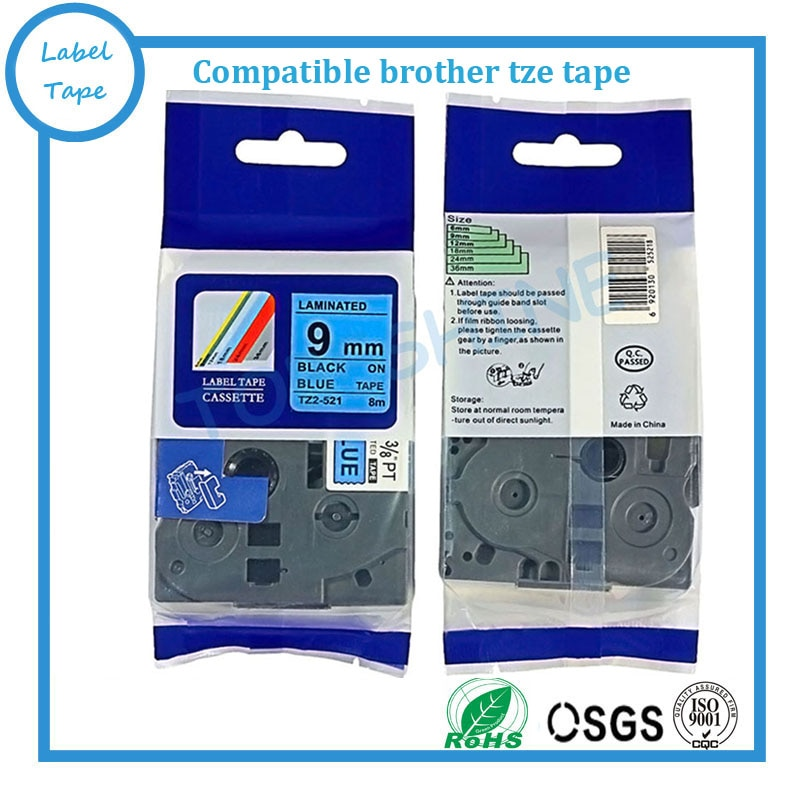 Compatible negro sobre azul 9mm TZe-521 TZ-521 tz521 tze521 tze laminado etiqueta cintas para hermano táctil P impresoras de etiquetas