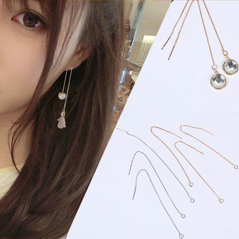 10 Uds., cobre dorado, cadena para oreja, pendientes DIY, perlas de imitación para mujer, accesorios de joyería para oreja hechos a mano, venta al por mayor