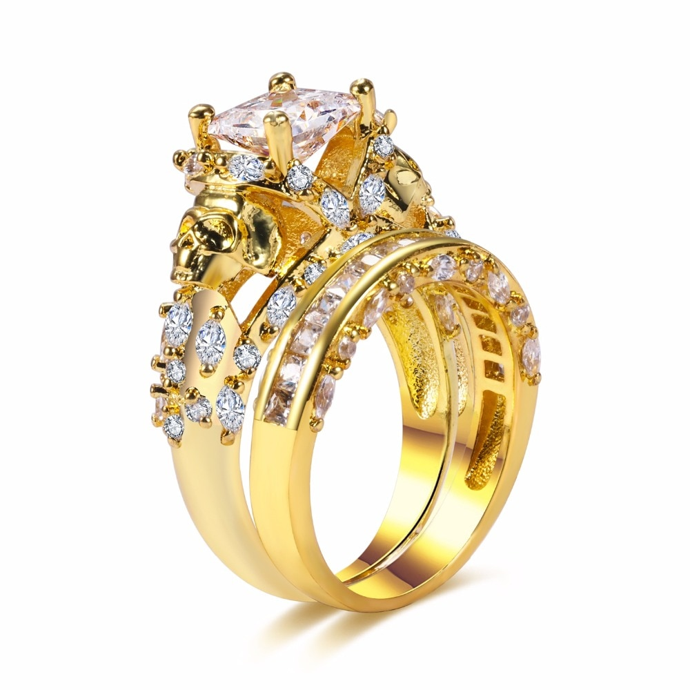 Venta caliente Punk estilo Evil Skull Ring Set CZ diseño de esqueleto doble bandas anillo de dedo para las mujeres joyería