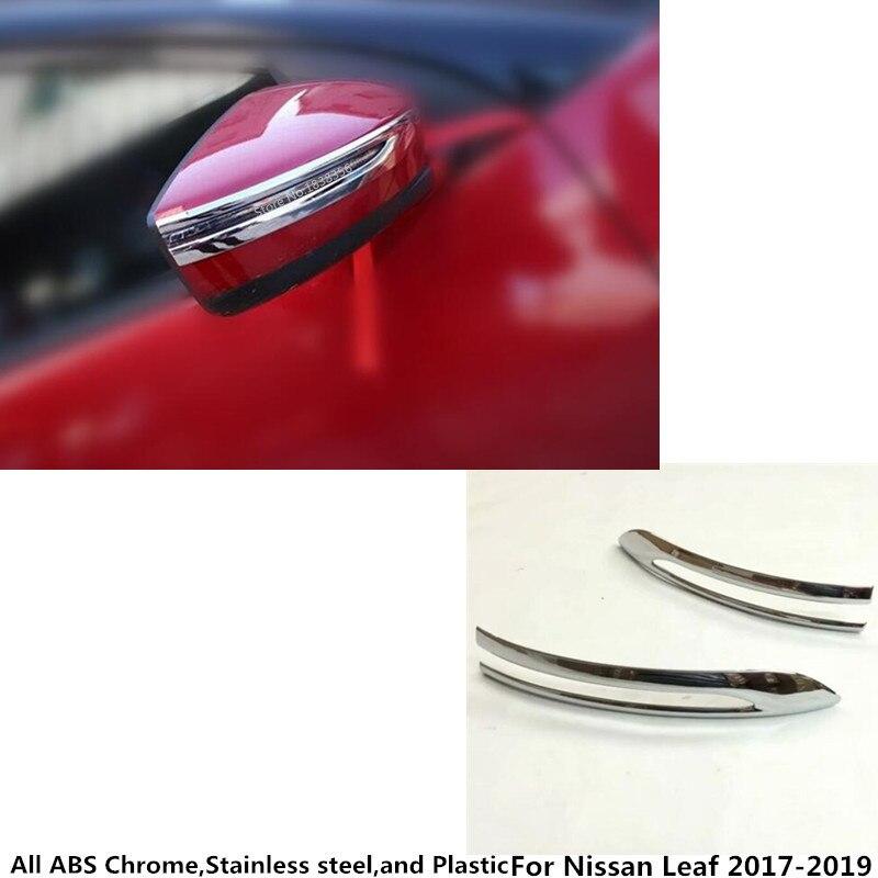 Para Nissan Leaf 2017 2018 2019 coche de acero inoxidable vista trasera cubierta de espejo retrovisor lateral stick recortado marco de la lámpara hood 2 uds