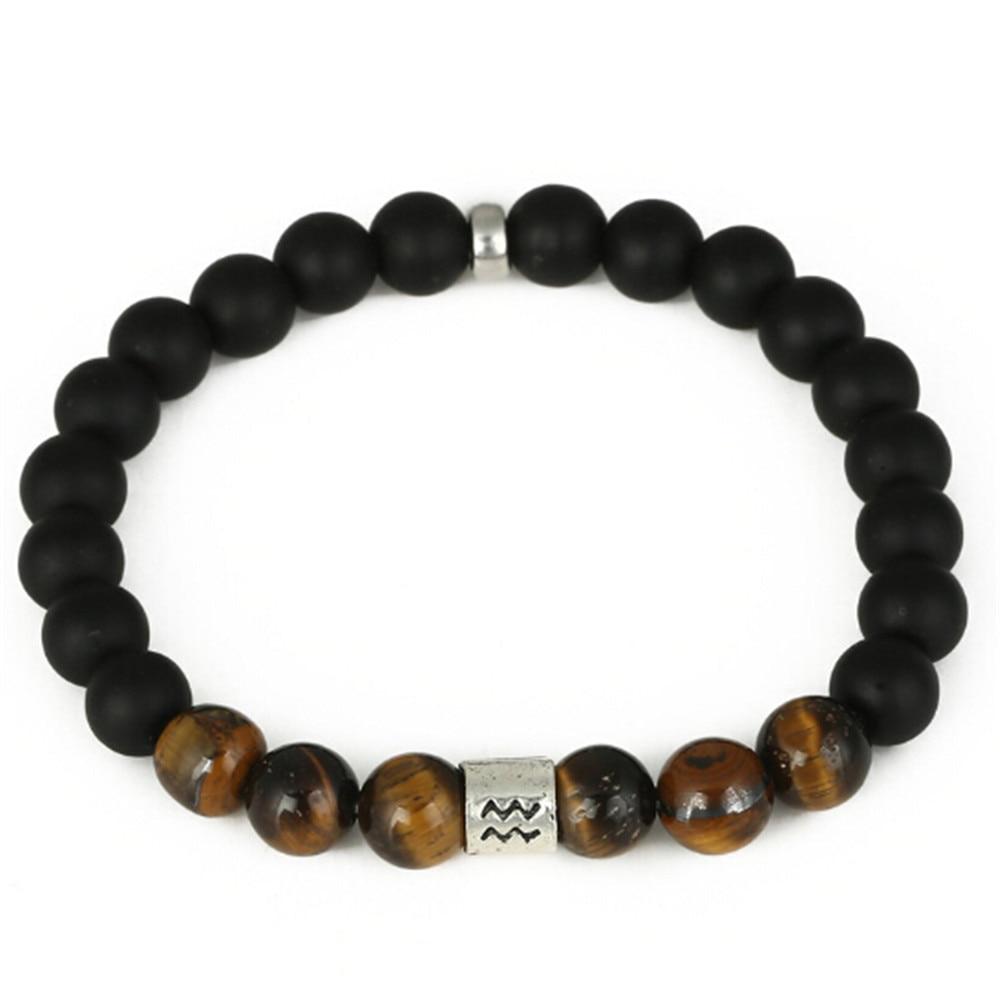 8MM Natural mate negro Onyx pulsera aleación Aquarius Charm Bracelet Tiger Eye Stone Yoga Energy pulseras de cuentas de mano al por mayor