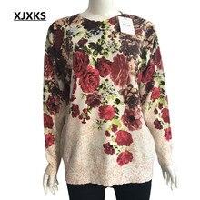 Xjxks 대형 스웨터 여성 점퍼 의류 패션 긴 소매 인쇄 o 목 풀오버 니트 여성 스웨터 풀 오버