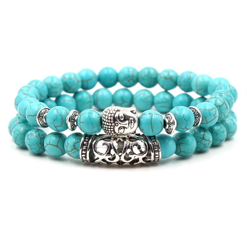 2019 модный браслет ручной работы с голубыми трещинами из бисера, очаровательный мужской браслет голова Будды, мужские ювелирные изделия, мужской подарок