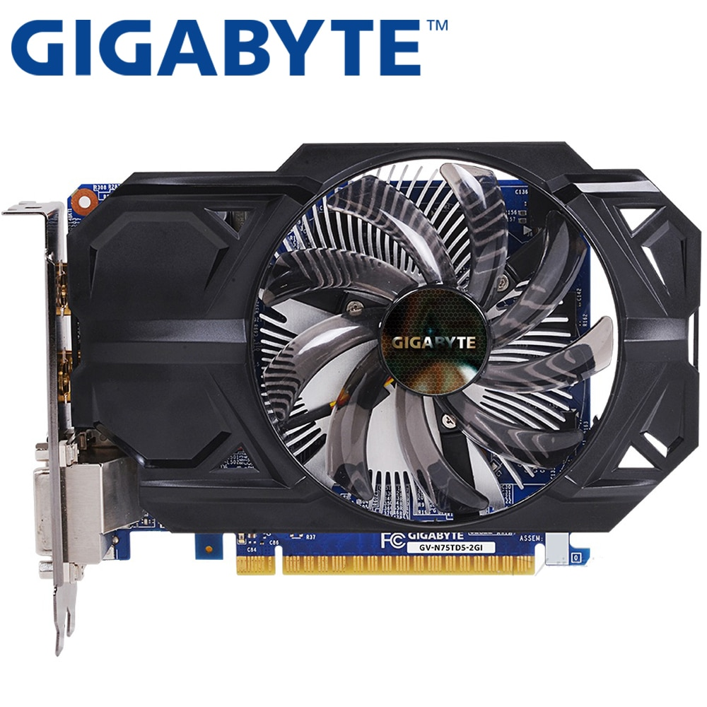 GIGABYTE tarjeta gráfica Original GTX 750 2GB 128Bit GDDR5 tarjetas de vídeo para nVIDIA Geforce GTX 750Ti Hdmi Dvi VGA de tarjetas