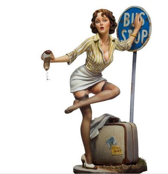 Poker chica parada de autobús 80mm 1/22 Kit de modelismo de resina