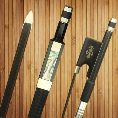 surveal handmade master carbon fiber cello bow natural white horse hair ebony frog carved best elastic with warm sound size 4 4 1 Pc New PRO Light Carbon Fiber 4/4 Violin Bow Nickel Silver Parts Mongolia Black Horse Hair Ebony Frog Good Balance Accessories