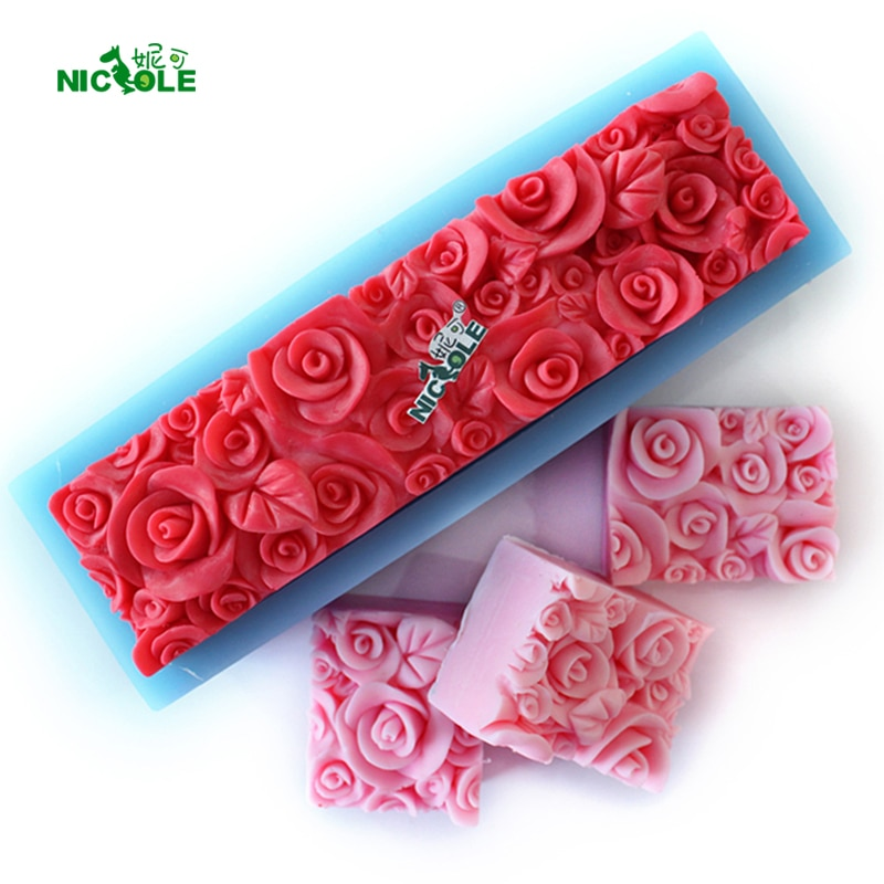 Rose Flower Silicone Loaf Soap Mold Rectangular Embossed Decoration Mould DIY Handmade Tool