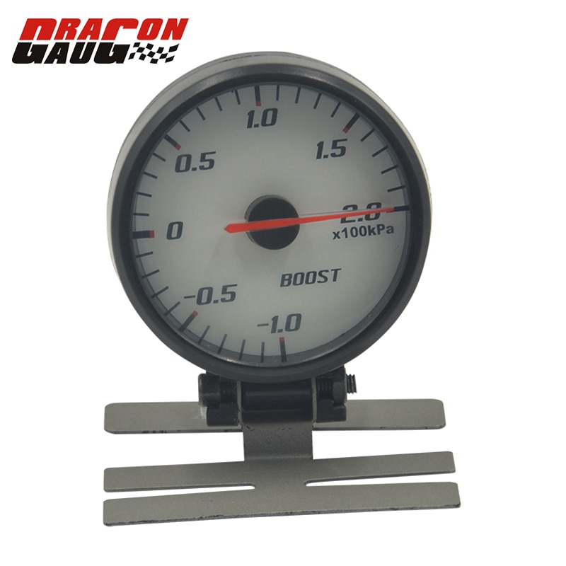 Dragon gauge 60mm Pointer Blue backlight  White Face Auto Car Turbo boost gauge -10~20 KPA Turbo Meter With Sensor