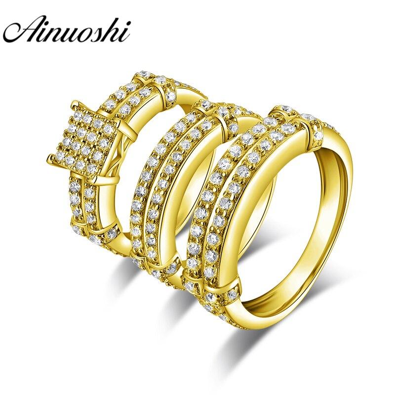 Conjunto de anillo de oro Real AINUOSHI, joyería de compromiso, anillo de bodas de pareja de oro amarillo de 14 K, juego de anillos con racimo doble delicado