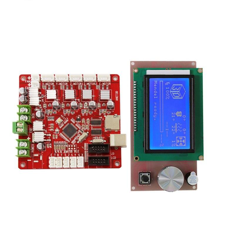 Placa base de impresoras 3d Anet A6 E10 E12 + Pantalla de controlador inteligente LCD 12864 para rampas 1,4 Reprap Prusa piezas de placa base de impresora 3D