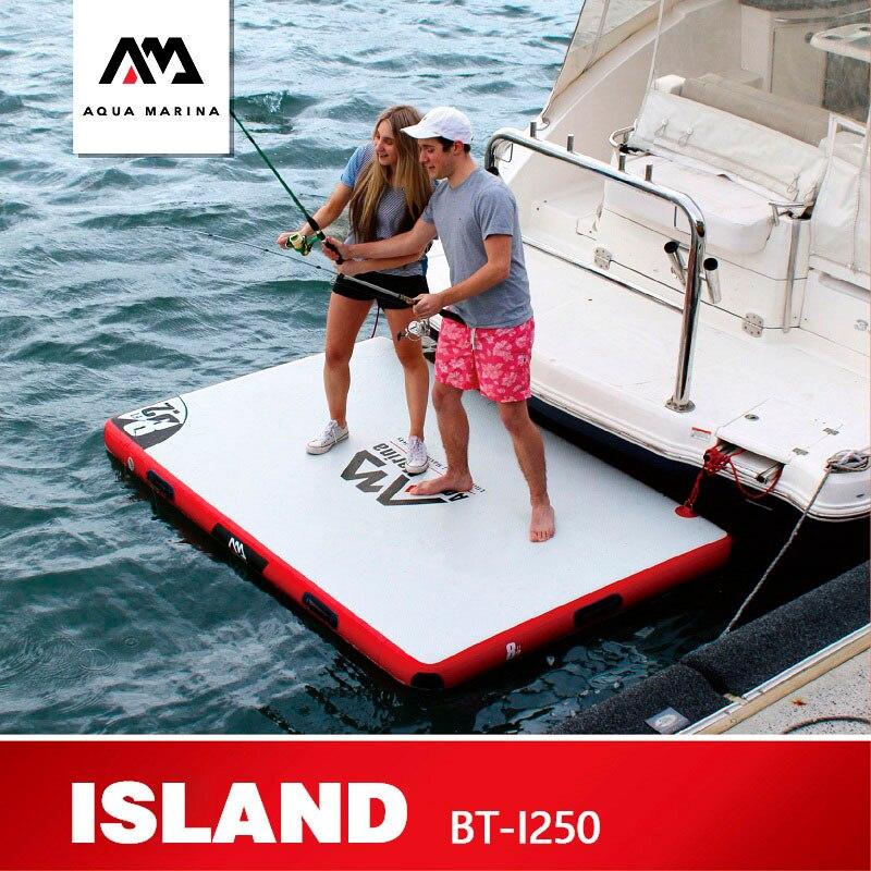 AQUA MARINA Floating Board ISLAND Fishing Floating Plate Inflatable Working Rest Platform 250*160*15cm Boat Fishing Platform