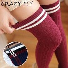 CRAZY FLY Spring Sexy Knee Socks Long Thigh High Over The Knee Socks Cotton Ladies Striped Socks Women Overknee High Socks 2019