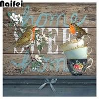 Sweet home     kit de peinture diamant 5D  motif de broderie  oiseaux carres et ronds  kits de points de croix 3D a bricolage soi-meme  images de mosaique en resine