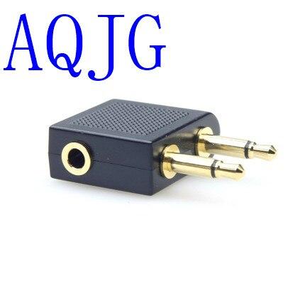 Universal de 3,5mm a 3,5mm x 2mm avión auriculares adaptador de audio para auriculares conector convertidor aerolínea Jack
