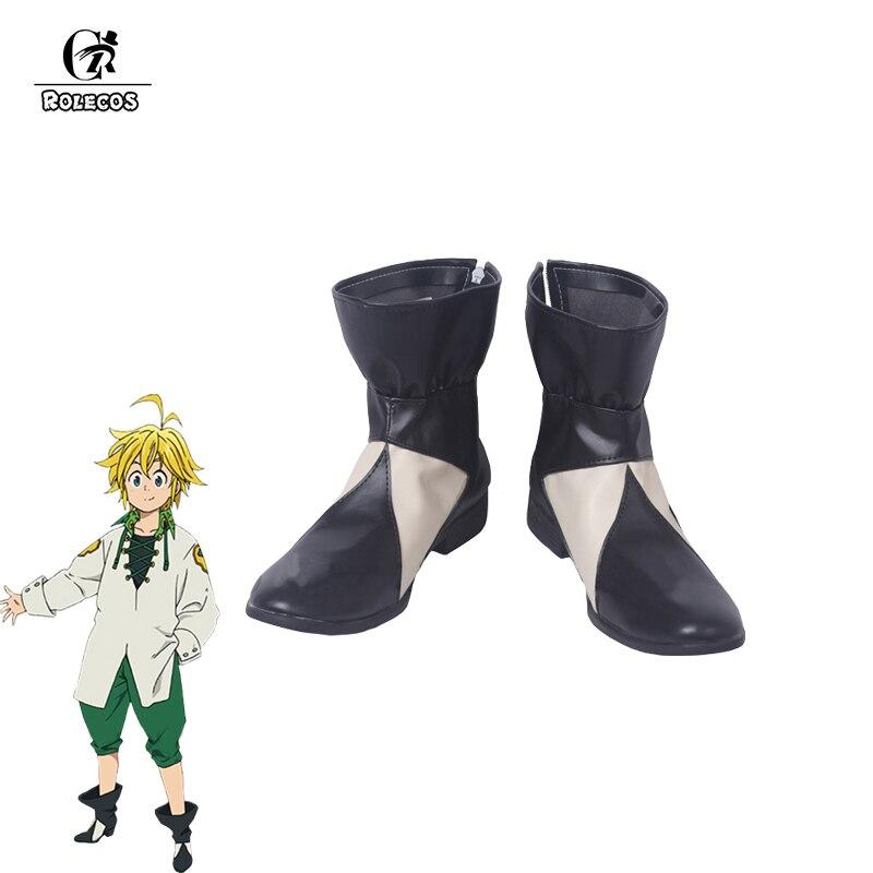ROLECOS Anime siete pecados capitales Cosplay zapatos Meliodas Cosplay negro y blanco botas altas para hombres zapatos de Cosplay zapatos personalizados