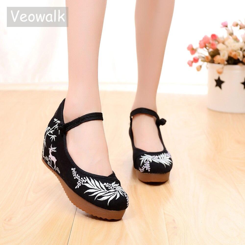 Veowalk, zapatos informales de lona con plataforma oculta bordada, correa de tobillo Retro, cómodos zapatos planos con bordado chino para mujer