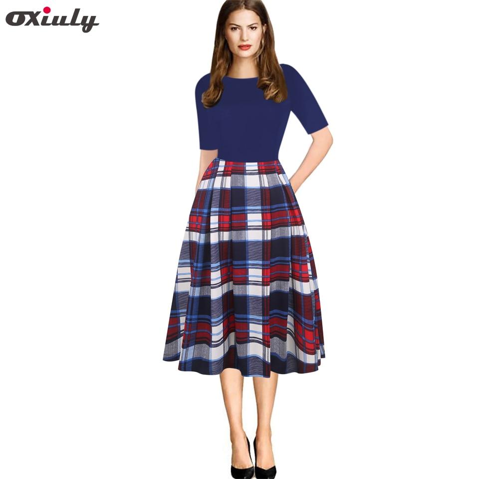Oxiuly Fall 2018 Vintage Women Dress Plaid Patchwork O-Neck Women Casual Office Dress Half Sleeve A-Line Swing Autumn Dress