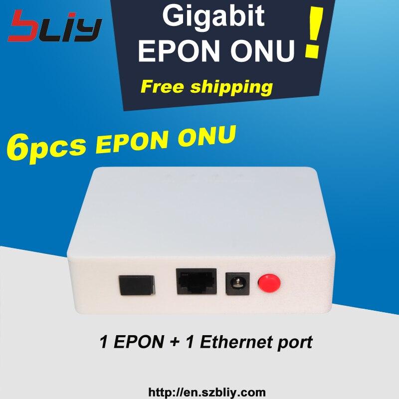 Bliy envío gratis 6 uds gigabit epon onu olt 1 pon 1 interruptor de ethernet Puerto ZTE chip compatible con fiberhome etc. olt epon