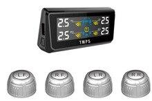 TPE08-puissance solaire intégrée TPMS   Système de surveillance de la pression des pneus avec 4 capteurs externes RF sans fil, économie de gaz avec panneau LCD