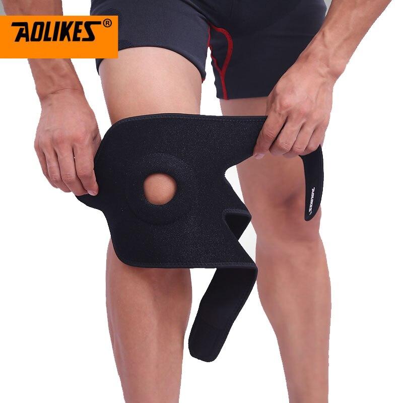 1PCS Adjustable Sports Training Elastic Knee Support Brace Kneepad Adjustable Patella Knee Pads Hole Kneepad Safety Guard Strap