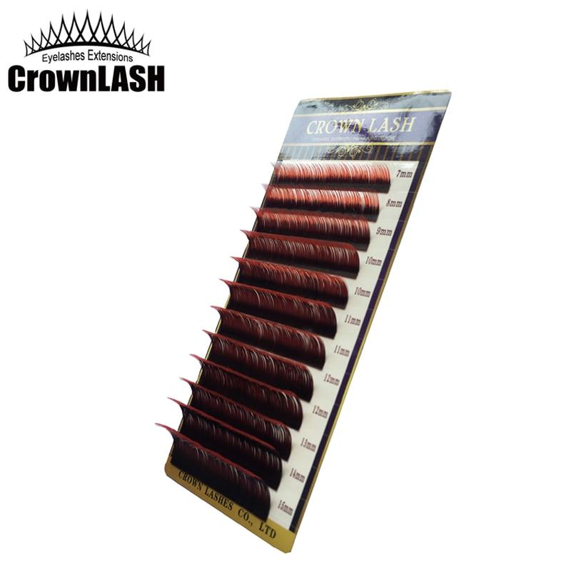 CrownLash Volum Lash verlängerung C-0.10, C-0.15 7-15mm Dual Farbe Ombre Rot
