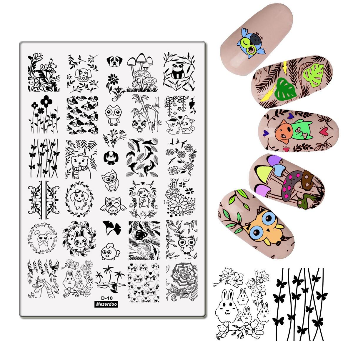 Cute Stamping Plates Unicorn Cartoon Nail Art Stamp Stamping Template Image Plates Wonderful Animal World Nail Stencil Tools