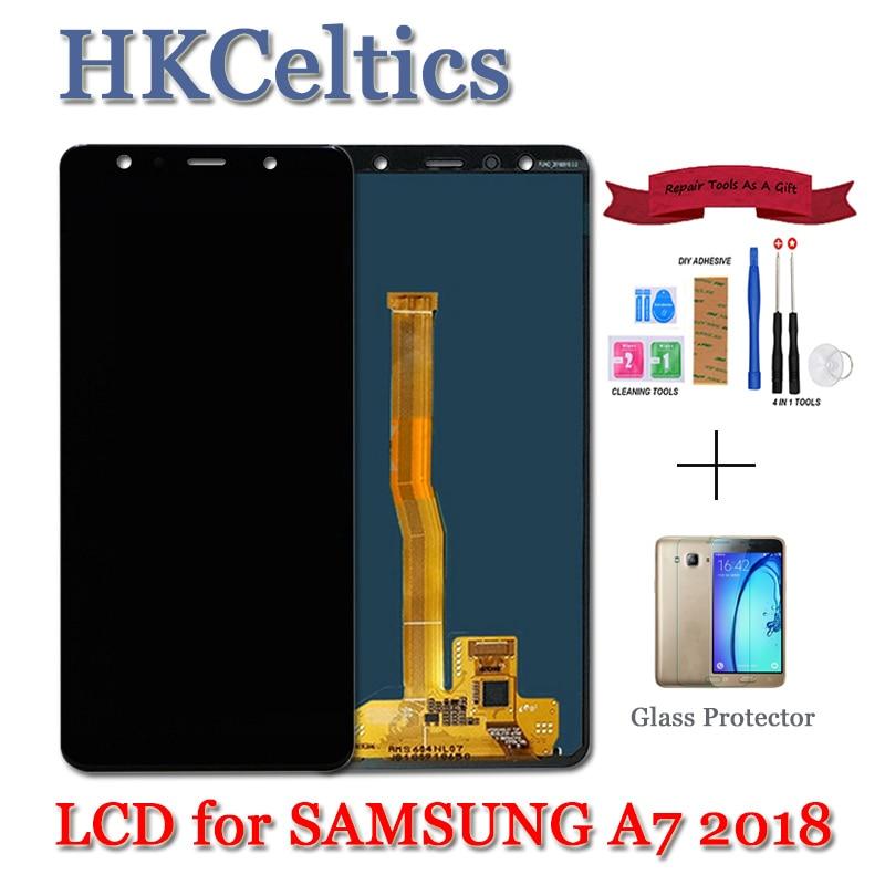 6,0 inch Amoled para el modelo samsung galaxy A7 2018 SM-A750F A750F A750 pantalla LCD de montaje de digitalizador con pantalla táctil de reemplazo de A750 lcd