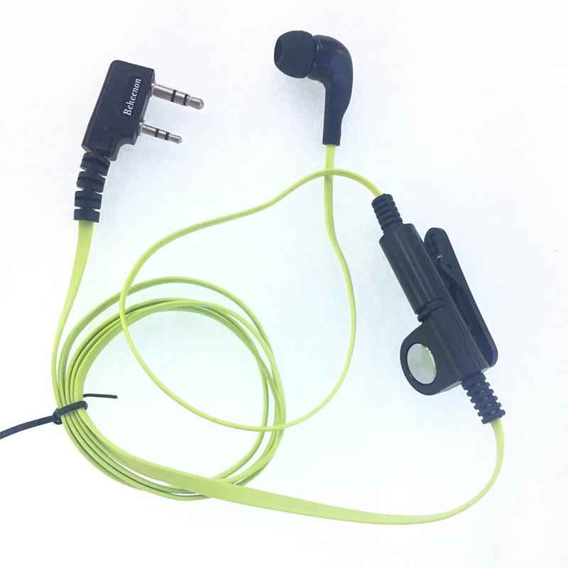 Green Fashion Noodle style earbud headphone K plug for KENWOOD Baofeng BF888s UV5R UV82 Wouxun TYT Puxing etc walkie talkie