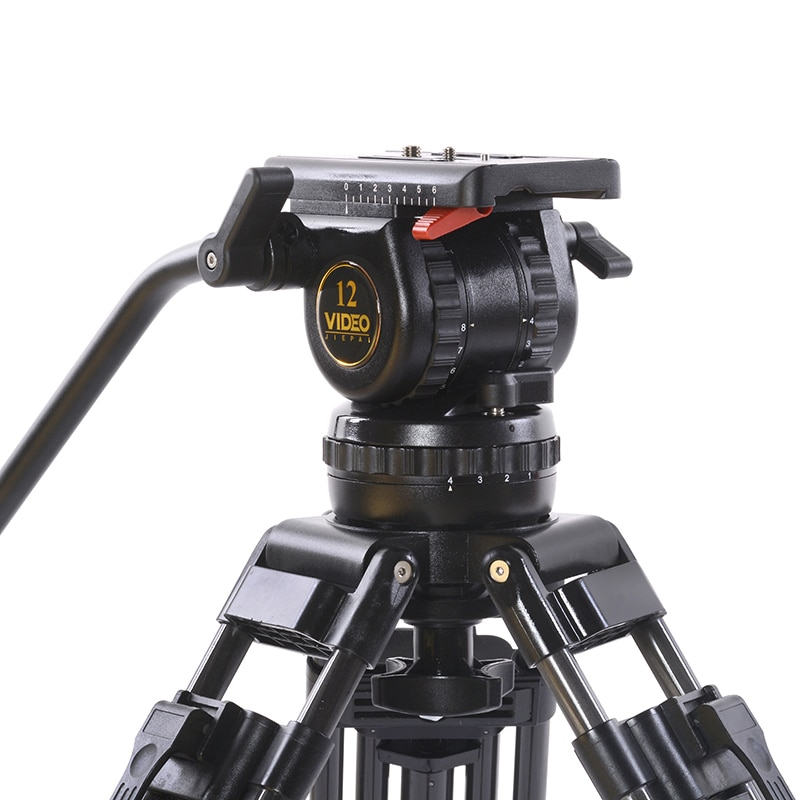 Cabeça fluida profissional do tripé v12 com carga 12kg da bacia de 100mm para o tiro da câmera de vídeo do filme de dslr bmcc c300