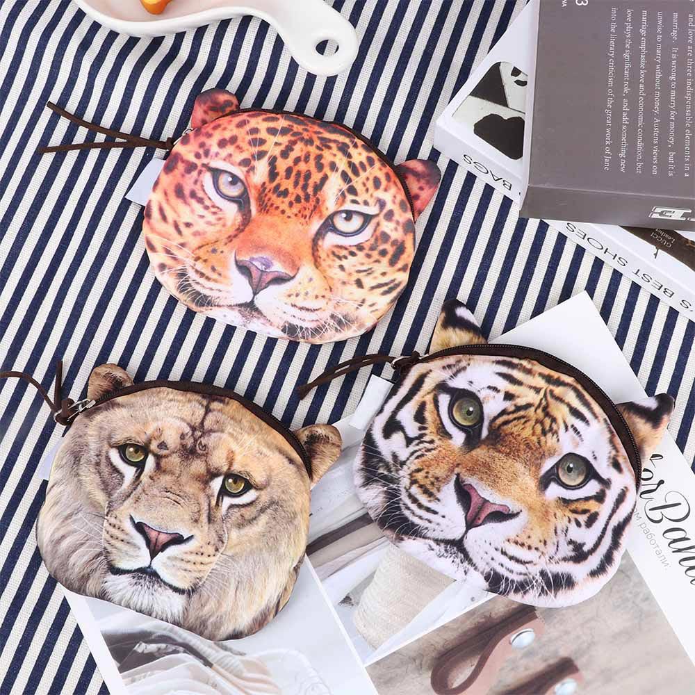 1Pcs Women Cute Tiger Leopard Lion Face Print Coin Bag Girls Wallet Change Pocket Case Women Purse Zipper Pouch Handbag