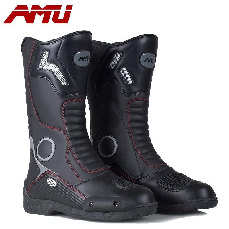 Botas de Moto AMU, botas de cuero impermeables, bota para motocicleta, protector de motorista, botas de Motocross