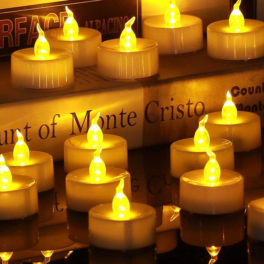 24 pièces sans flamme LED thé lumière bougies chauffe-plat à piles faux LED bougie lumière de pâques bougie décoration de la maison éclairage