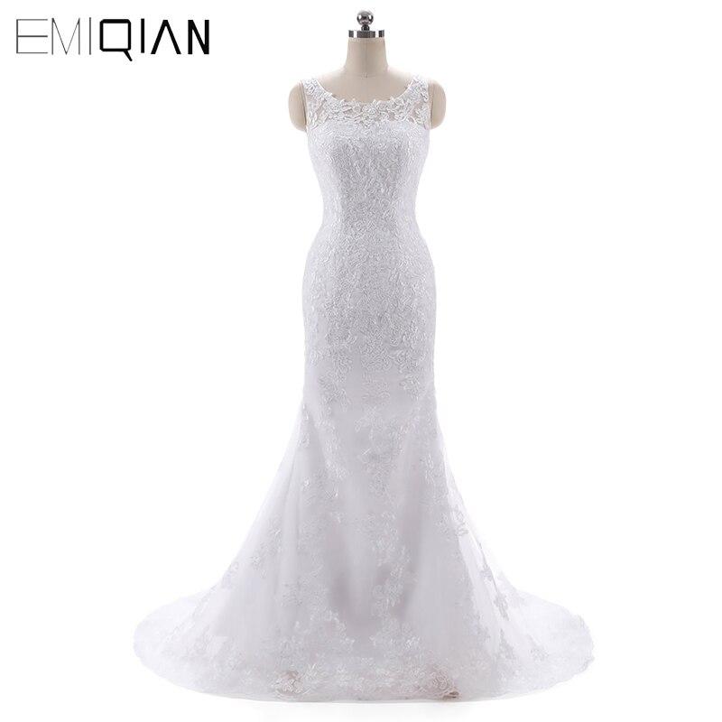 Review Vestidos De Novia Casamento Boat Neck Lace Mermaid Wedding Dresses Sweep Train Bridal Gowns