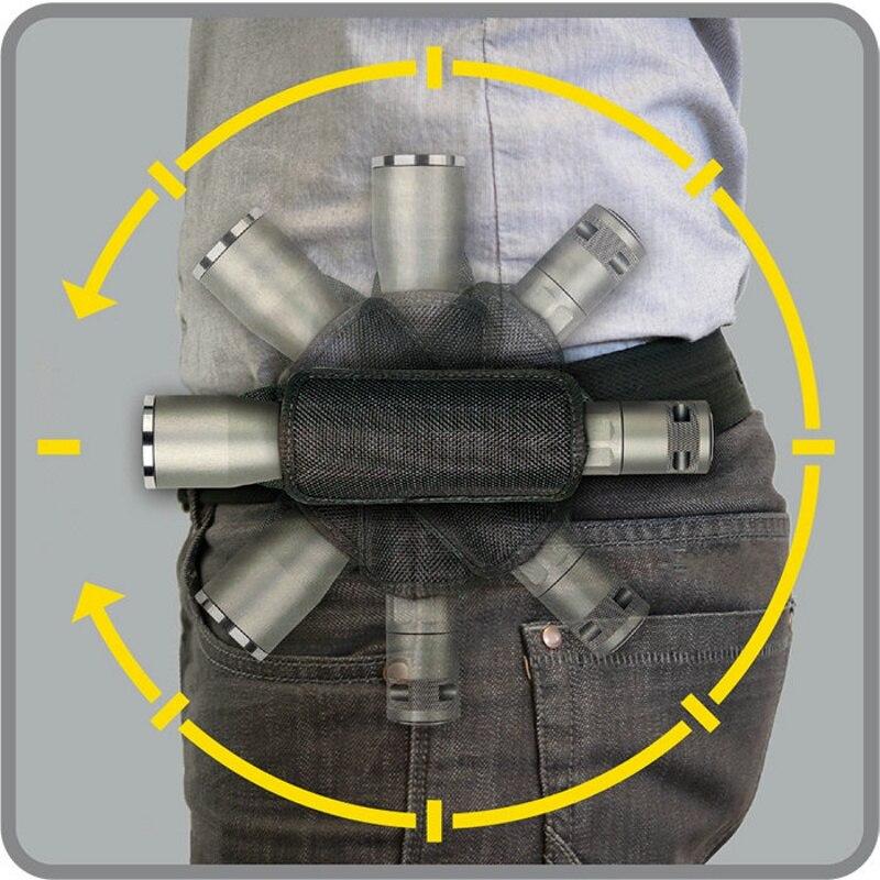 CQC 360 grados linterna táctica giratoria bolsa Molle Clip cinturón antorcha funda, soporte al aire libre caza linterna y funda bolsa